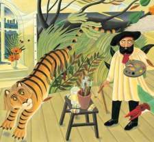 From THE FANTASTIC JUNGLES OF HENRI ROUSSEAU - Michelle Markel, illus. Amanda Hall.