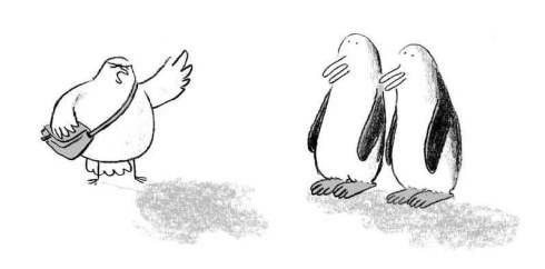 "A dove summons two penguins to ""meet at the ark at eight."""